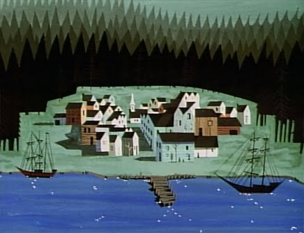 Eyvind Earle, backgrounds for Paul Bunyan, animated short, Walt Disney Studios, 1958