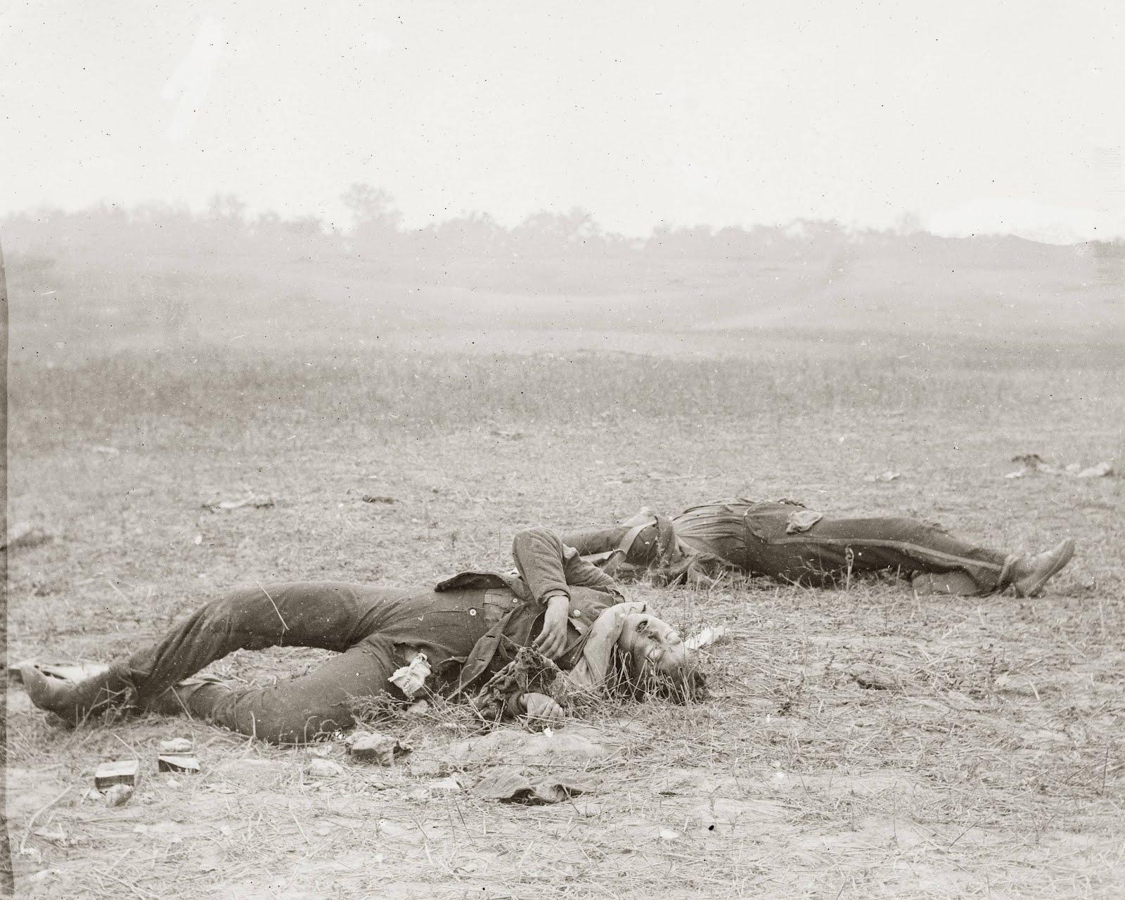 Alexander Gardner,  Confederate Soldiers as they fell by Burnside Bridge ,photograph at Antietam battlefield,September 1863.