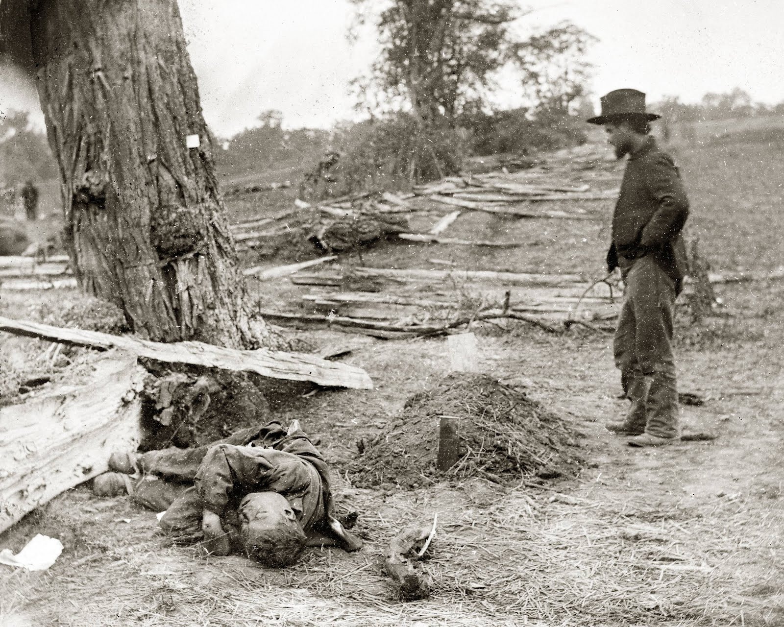 Alexander Gardner,  Federal Buried, Confederate Unburied ,   photograph at Antietam battlefield,  September 1863.
