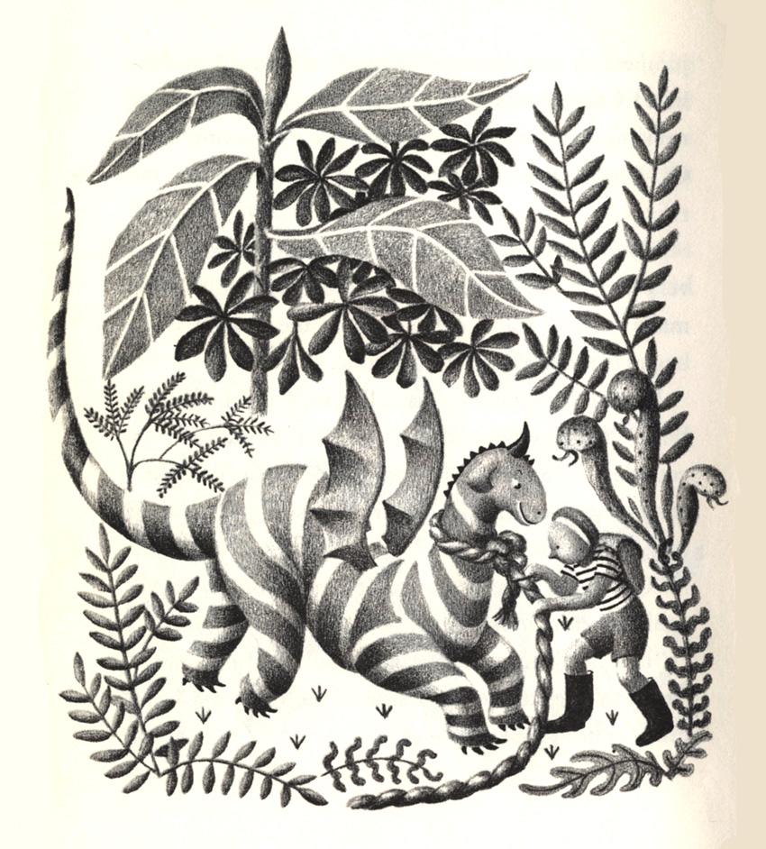 Ruth Chrisman Gannett, illustration for My Father's Dragon , by Ruth Stiles Gannett, 1948