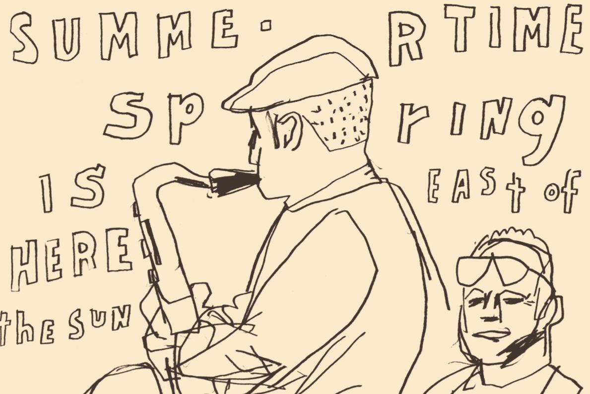 D.B. Dowd,  Detail of Saxophonist at Meyer-Hirshon Wedding Reception  .   Sketchbook drawing.2012.