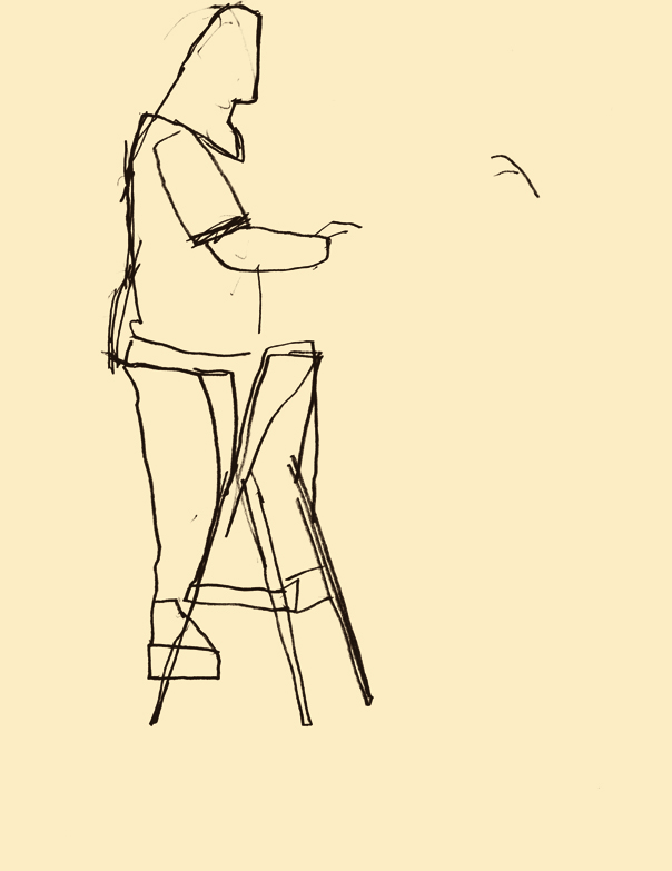 Dowd,  Stout Photographer on Portable Stair .  Sketchbook drawing. 2012.