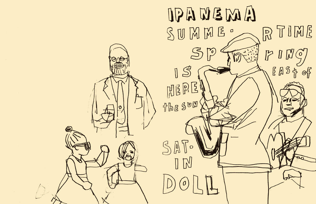 D.B. Dowd,  Little Girls Dancing to  Satin Doll ,Meyer-Hirshon Wedding Reception  .   Sketchbook drawing.2012.
