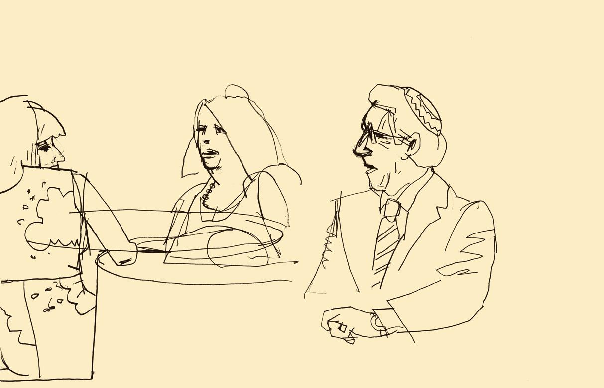 D.B. Dowd,   Women andRabbi at Meyer-Hirshon Wedding Reception  .   Sketchbook drawing.2012.