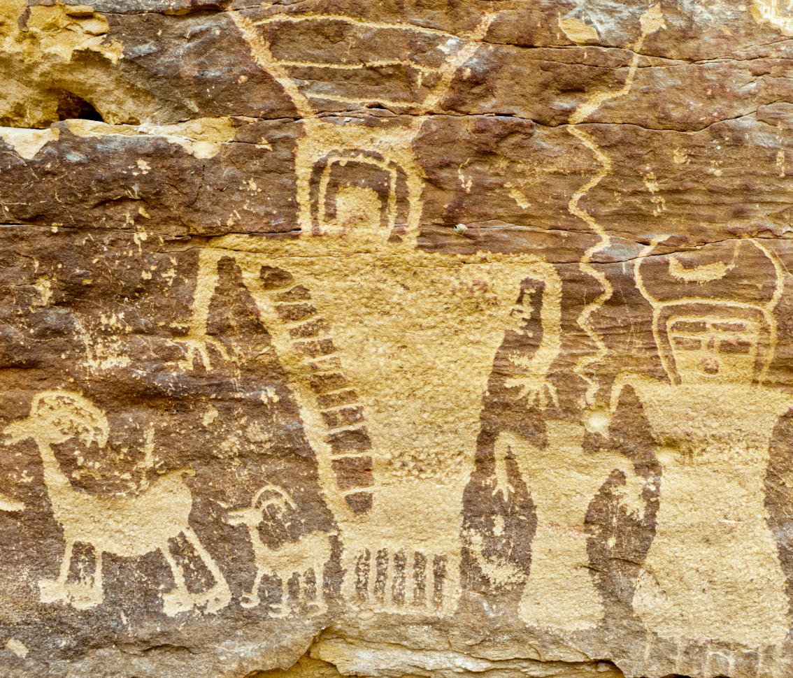 Petroglyph Group, Fremont culture, Nine Mile Canyon, Utah. Circa 700 to 1300 CE. Photo by Stan Strembicki.