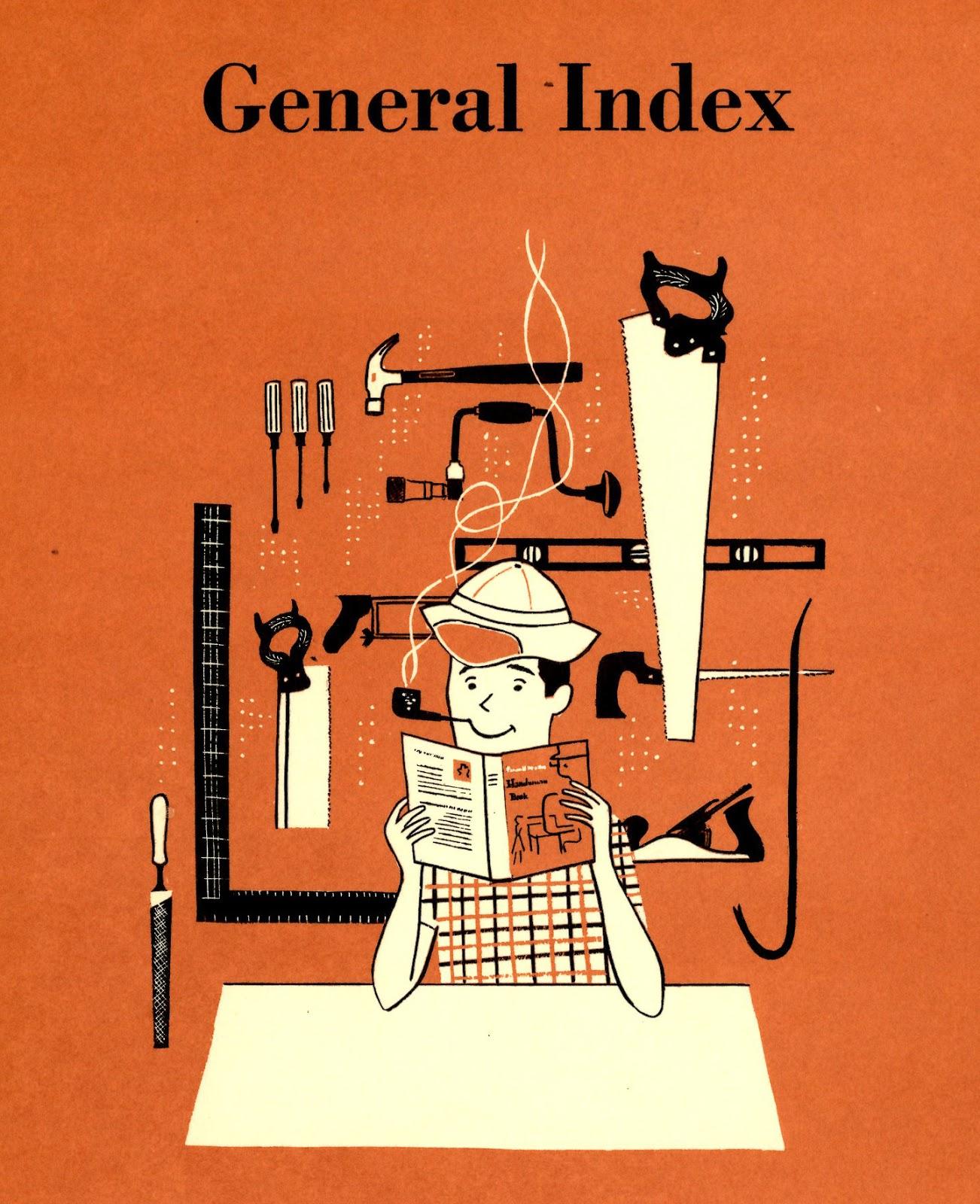 Lorraine Fox (uncredited),  General Index , section divider illustration,  BH & G Handyman's Book , 1957.