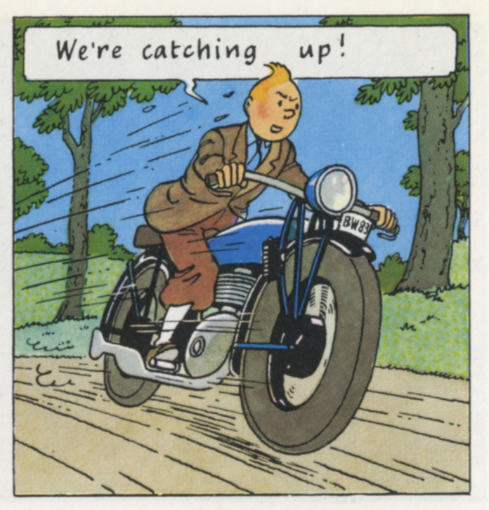 Hergé, panel from  King Ottokar's Sceptre ,a Tintin adventure that takes place in an imaginary eastern European county governed by a purportedly virtuous but besieged monarchy.1939.
