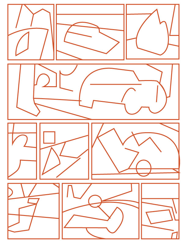 The motorcycle chase scene broken down into abstract compositional studies.