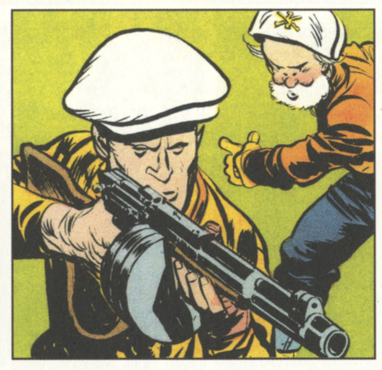 Caniff, detail of 8/1/48  Steve Canyon  Sunday strip. Panel.