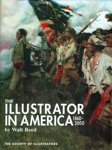 the cover of Walt Reed's Illustrator in America, featuring a reproduction of The Nation Builders (1903) by Howard Pyle