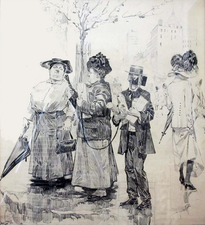 Orson Lowell, cartoon for Life Magazine, September, 1912. (Yes, that's a man on a leash wearing horse blinders. Tension over gender roles?) The Lowell drawing is surprisingly large in scale, and shockingly refined. We have three such drawings in the collection. We also have 82 small studies by Lowell. So much more to see!