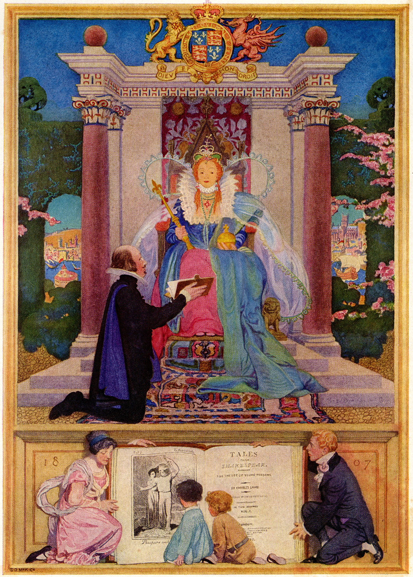 Elizabeth Shippen Green,  frontispiece illustration showing the Bard on his knees, offering a folio to Queen Elizabeth enthroned for   Tales From Shakespeare  . The predella features a family with young readers kneeling before an elephantine edition of the Lambs' book, possibly the 1866 edition illustrated by Gilbert. An ersatz virgin in glory.