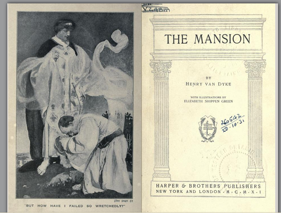 Elizabeth Shippen Green,   But how have I failed so wretchedly , frontispiece illustration for  The Mansion , 1911.  Screen shot from the Internet Archive .