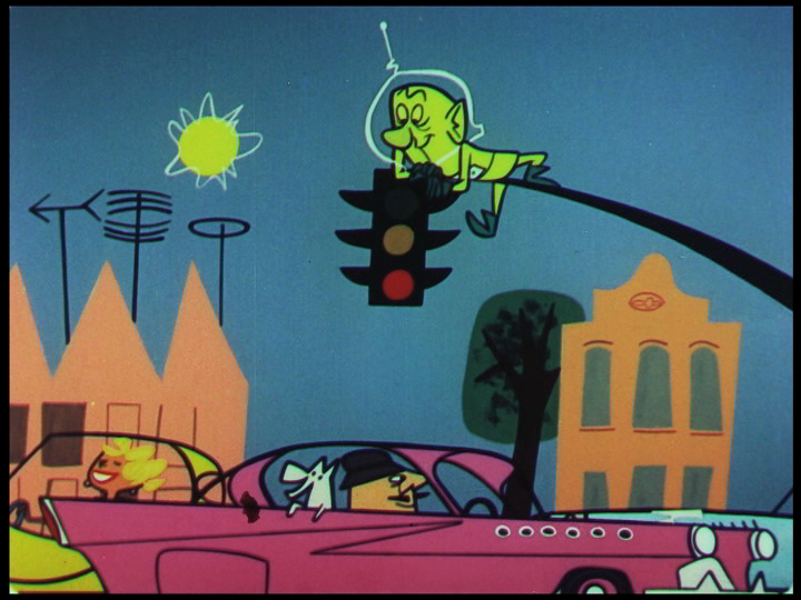 Colonel Cosmic observing automobiles,  still from  Destination Earth  , 1956.