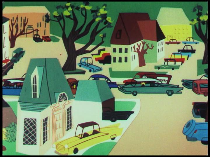 The American car-scape, still from  Destination Earth  , 1956.