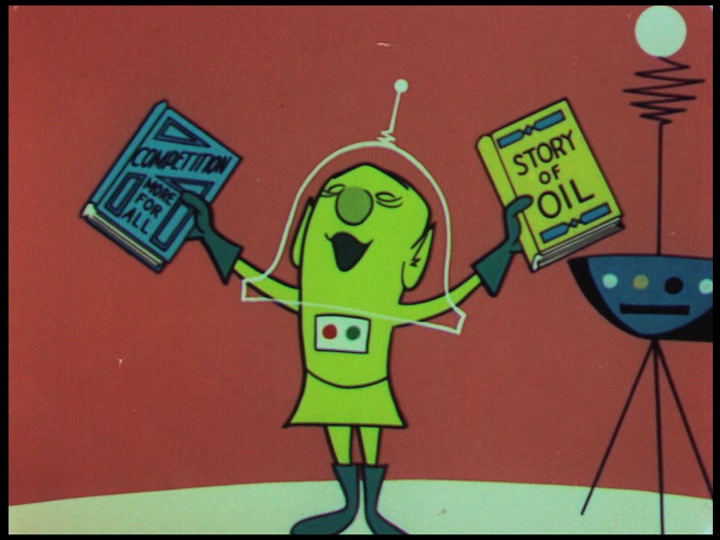 Colonel Cosmic preaches the twin gospel of competition and fossil fuel  , still from  Destination Earth  , 1956.