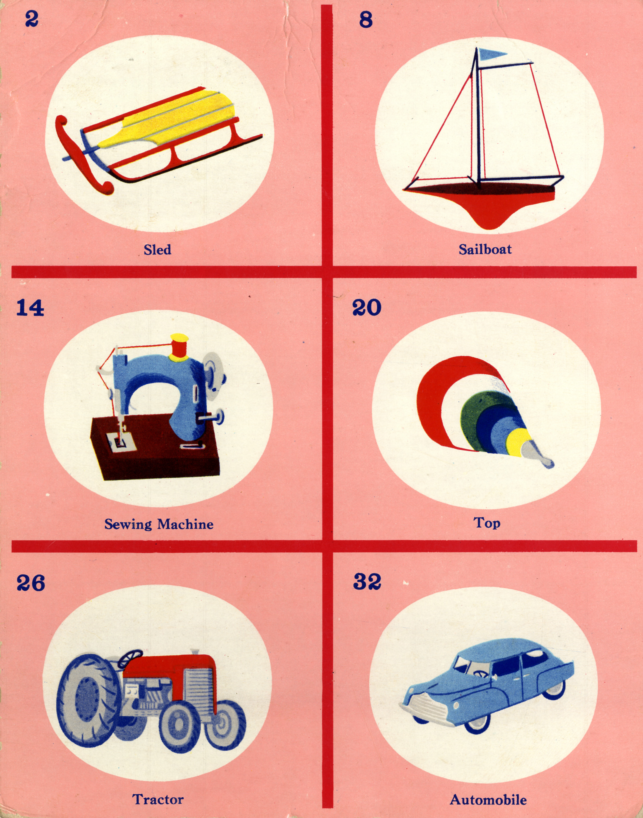 C. Clement,  Picture Lotto Card  for Samuel Gabriel and Sons Company, circa 1950.