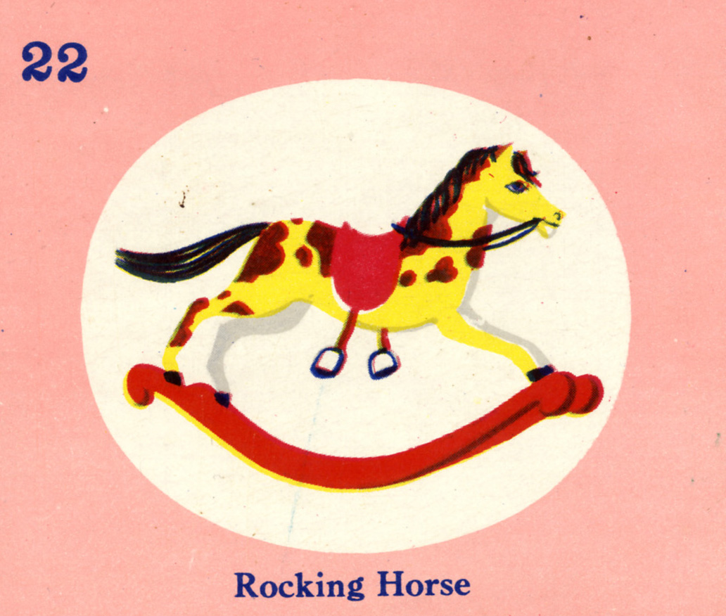 C. Clement,  Rocking Horse, Picture Lotto gamepiece  for Samuel Gabriel and Sons Company, circa 1950.