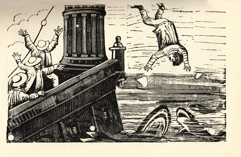 José Guadalupe Posada,  Shark Attack . Wood engraving, circa 1900.