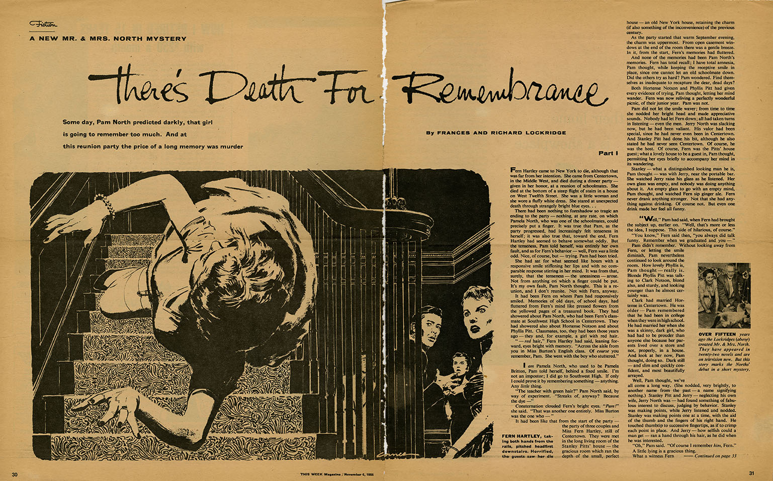 """Tear sheet, This Week Magazine , November 13, 1953. From the Mac Conner tear sheet file in the Walt Reed Illustration Archive, housed in the  Modern Graphic History Library  at Washington University.   FROM THE LABEL COPY for the color version, above :Florence and Richard Lockridge's noir tale """"There's Death for Remembrance"""" typifies the assignments Mac received from  This Week . This two-part story centers on the murder of Fern Hartley, shown here in mid-air, falling down a flight of stairs to her death. Hartley had been attending a dinner party and reunion of high school friends when her incessant reminiscing provoked someone to silence her. The following week Conner's illustration shows dinner guests looking down at Fern's lifeless body.   This Week Magazine  was a syndicated free newspaper supplement inserted into local Sunday newspapers. Published from 1935-1969, at  This Week's  height it appeared in 42 papers nationwide. As many as 13 million people may have seen this image in print, dwarfing the audience for Conner's magazine work. It's appropriate that his biggest audience would see such a representative work–featuring the trademark Conner inventive point-of-view."""