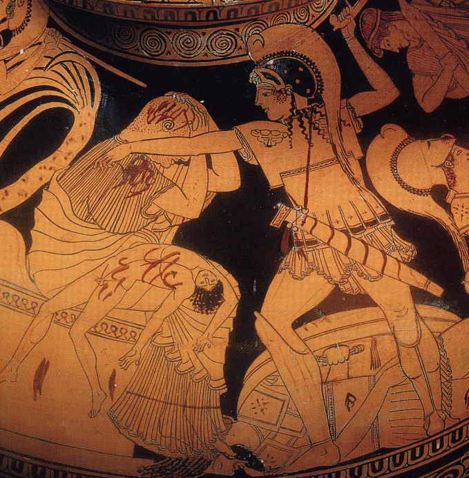 King Priam, bleeding and weakly covering his head, awaits the death blow that's coming from Neoptolemos, son of Achilles.Astyanax–son of Hector–isalready dead, is draped across Priam'slap.