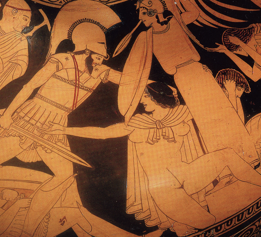 Ajax, left, comes for Cassandra, who is holding onto the Palladion, sort of a cigar-store-Indian sculpture of Athena.