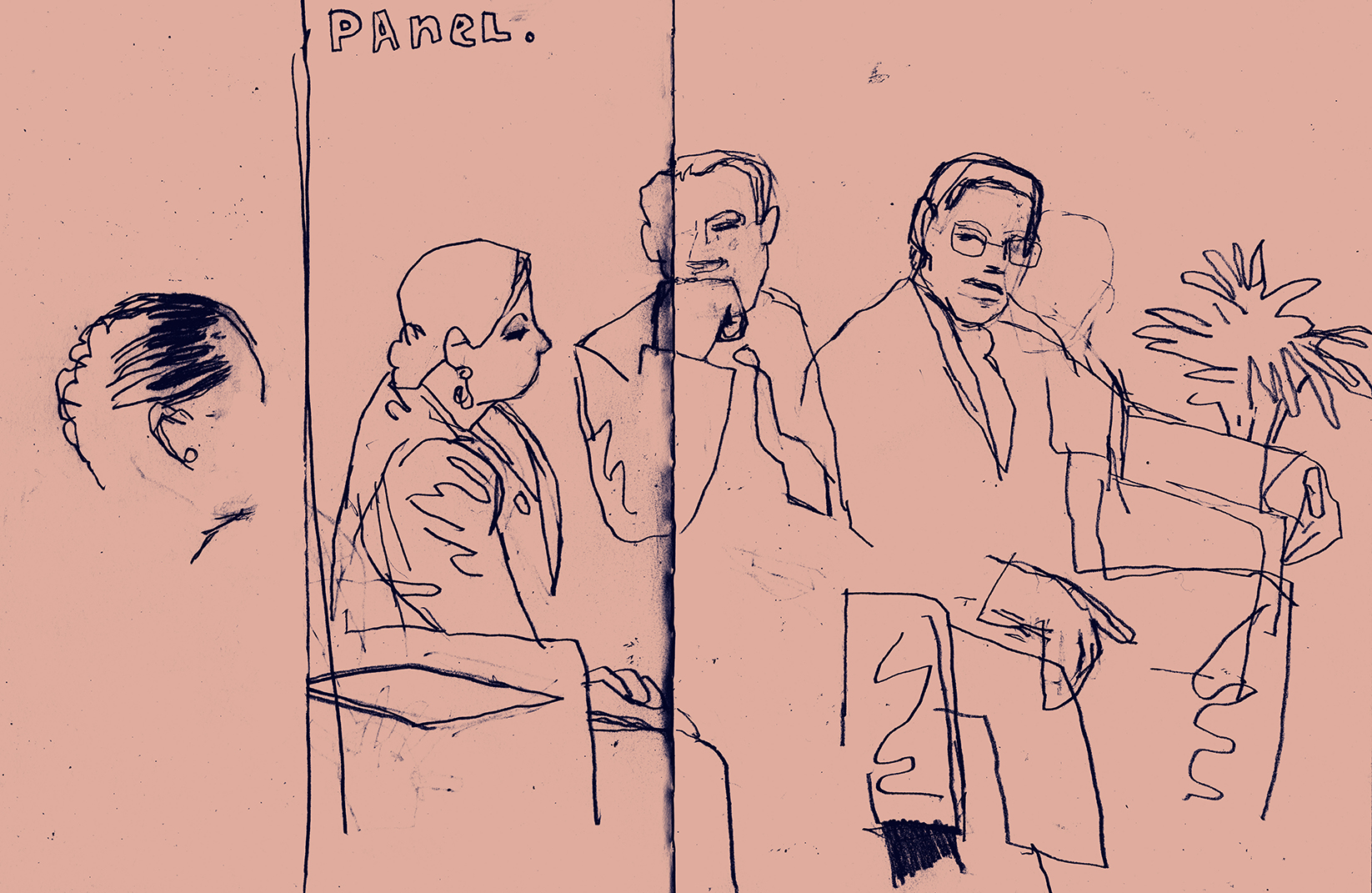 Illustration by D.B. Dowd of the panel following Gerald Early's keynote address. Also: pleasenote that the illustrationin the tweet embedded below is by Eden Lewis. (For some reason Squarespace doesn't seem to want me to caption thetweet.)