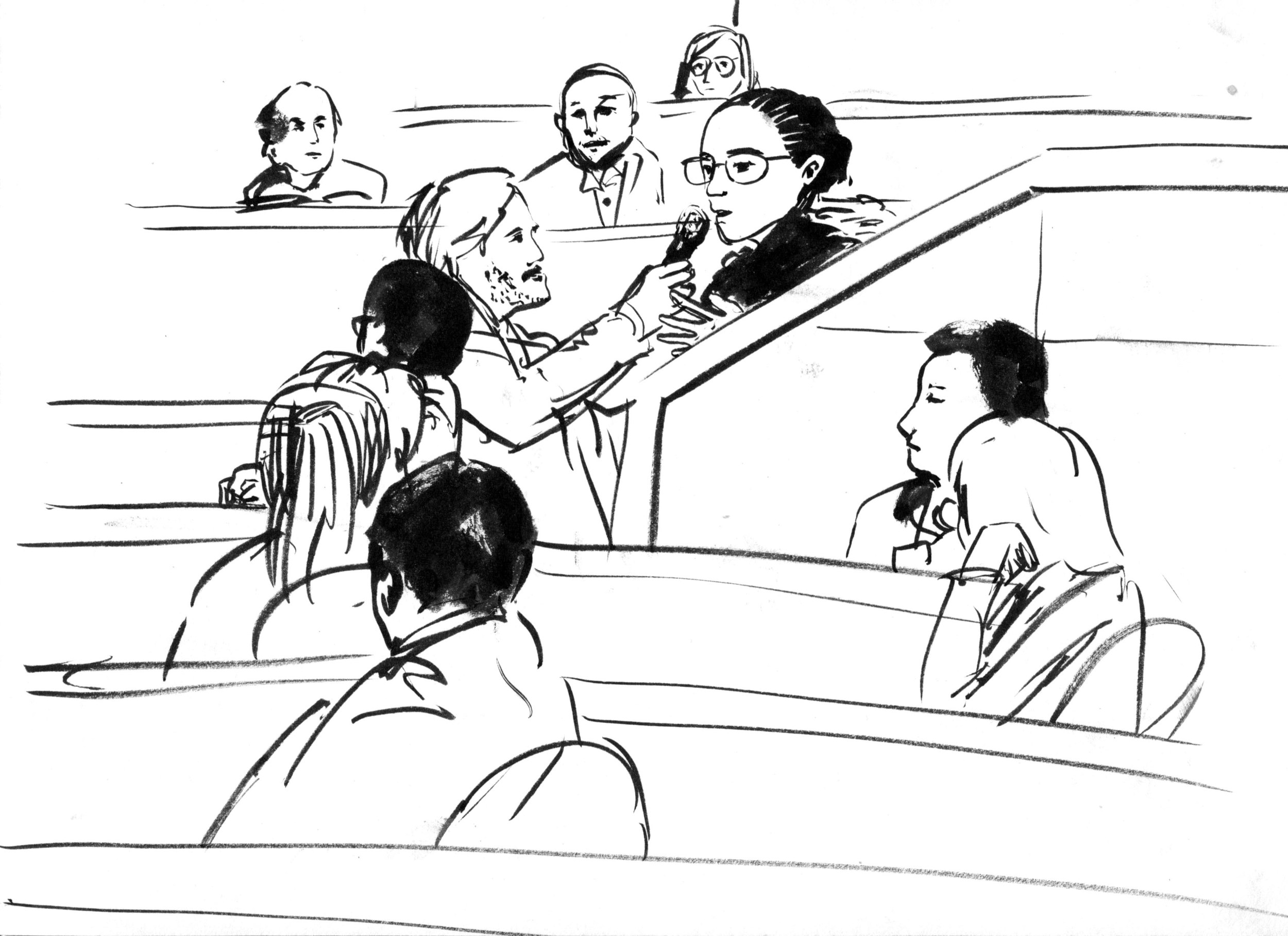 Illustration by Leslie Ding. An aggrieved woman asks a question that ran long. Leslie's economy of line and shape is terrific here.