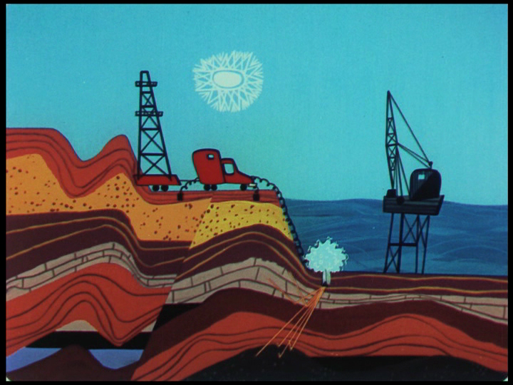 Another representation of strata, at rather a different scale than the skin illustration at right.  Oil Exploration , still from  Destination Earth , an industrial film from 1956 with a modernist sensibility. John Sutherland Productions. Directed by Carl Urbano, Production Design by Tom Oreb and Victor Haboush. ( More stills  from this film here.)