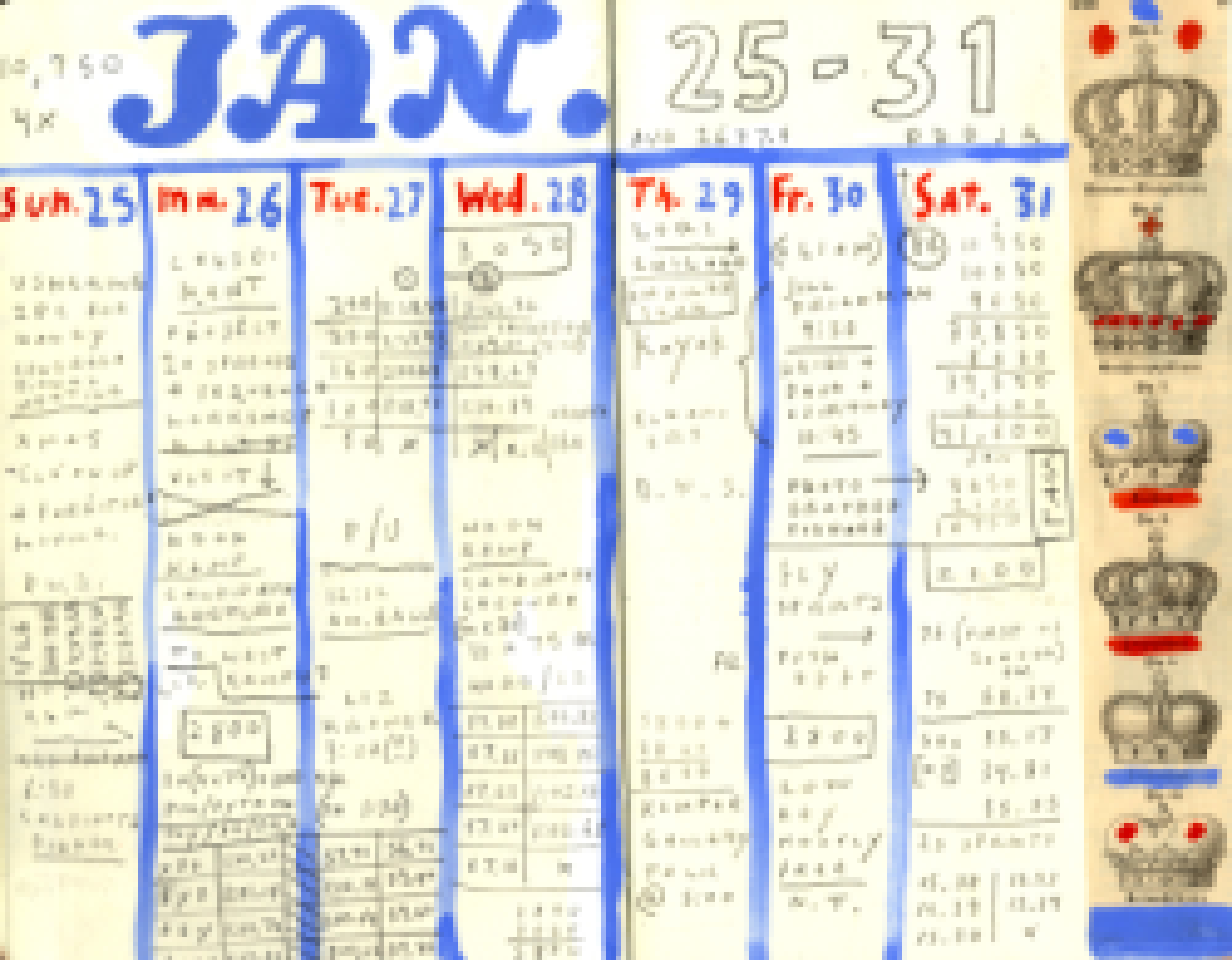 2015 Calendar Page (January 25-31),  filled in and blurred at bit. As ifthe whole thing weren't geeky enough, manydays are filled with detailed swimming yardage and workout times.