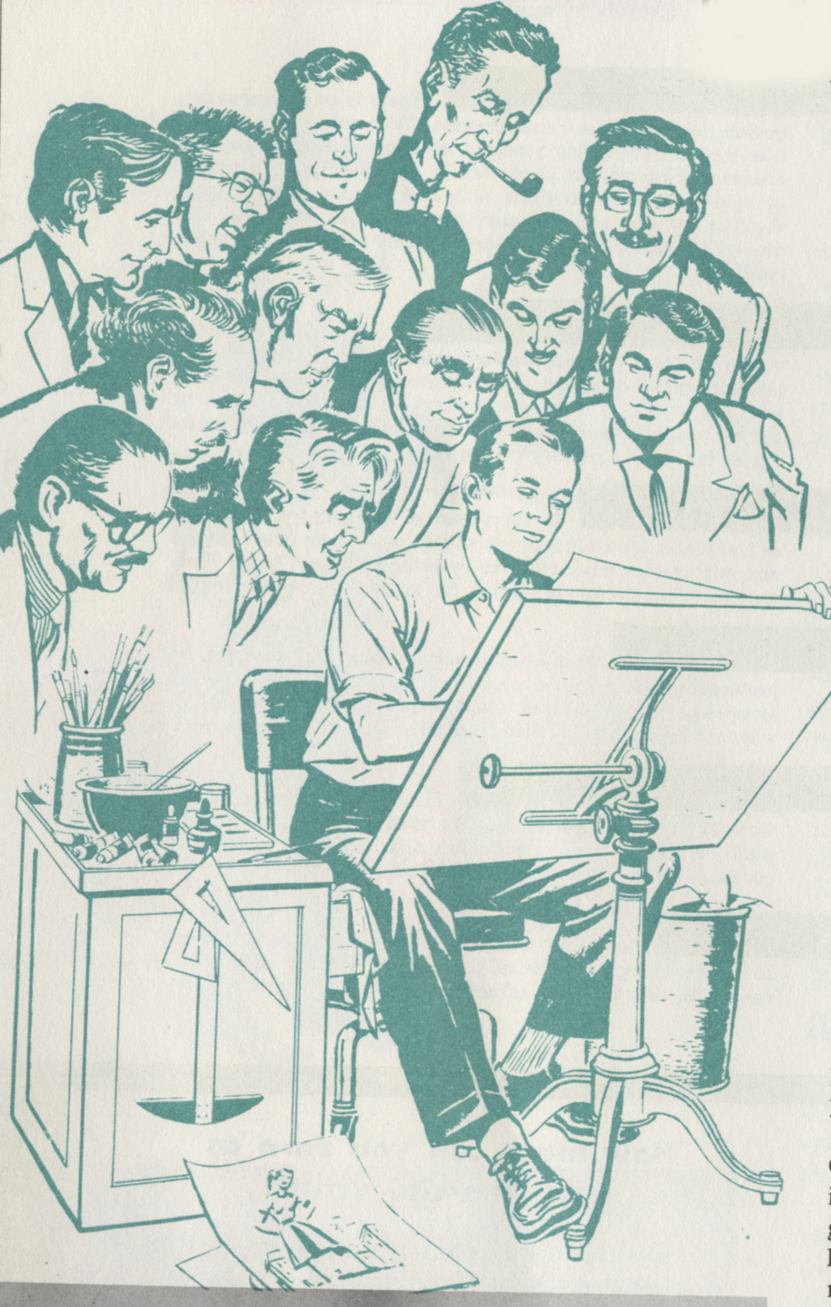 Illustrator uncredited,  Student working under the supervision of famous illustrators.  Detail, Famous Artists School promotional materials, circa 1960. The guy with the thick eyebrows immediately behind the student is Albert Dorne, FAS founder. Norman Rockwell has the pipe; next to Rockwell with the moustacheand glasses is Al Parker.