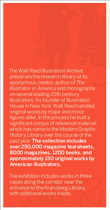 Front panel, tri-fold brochure design for  A Paper Trail , an exhibition of selections from the Walt Reed Illustration Archive, November 2013. Designed by Scott Gericke. Show curated by D.B. Dowd and Skye Lacerte.