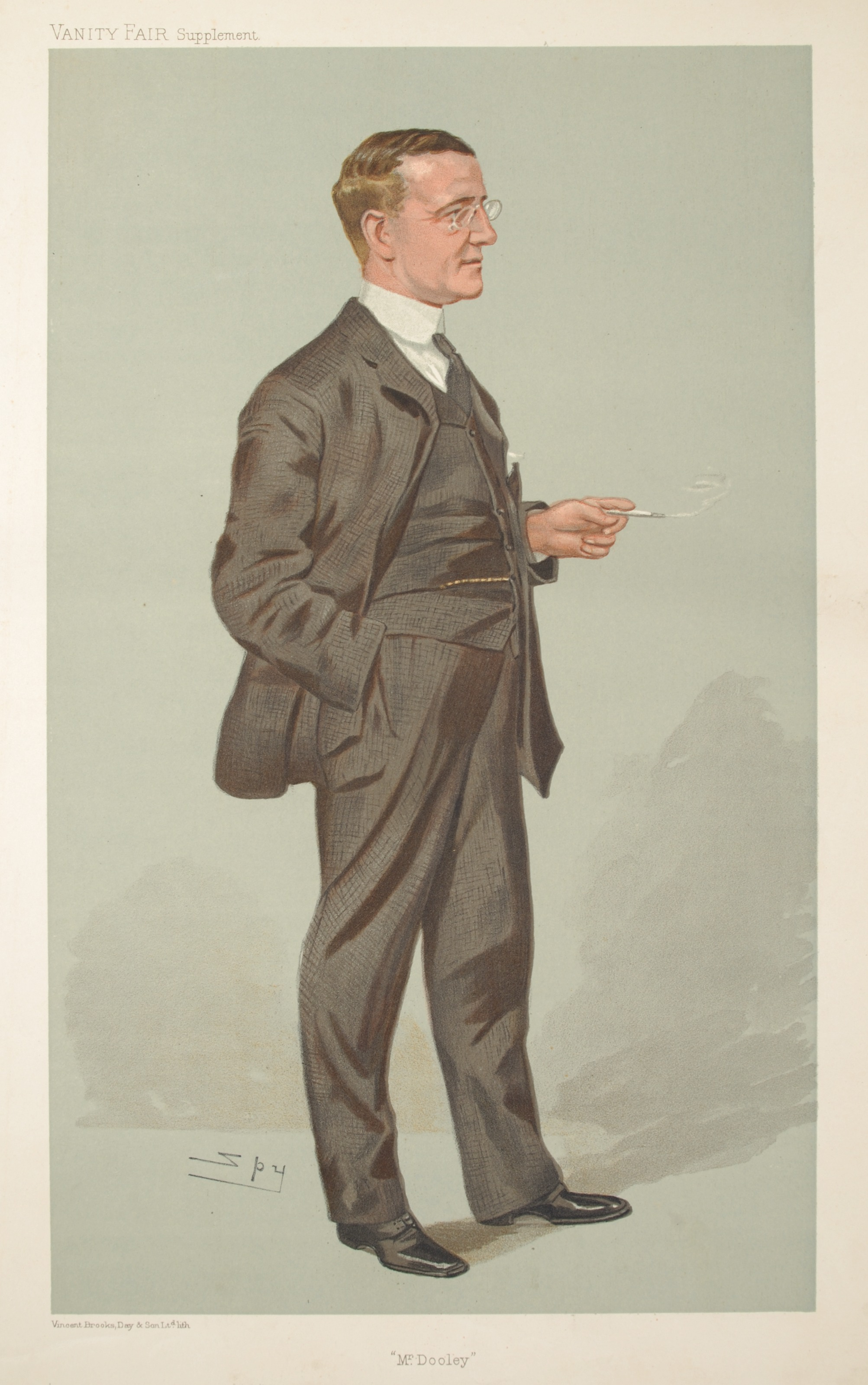 "Sir Leslie Matthew Ward (pen name ""Spy"")  Caricature of Finley Peter Dunne  in Vanity Fair, July 27, 1905."