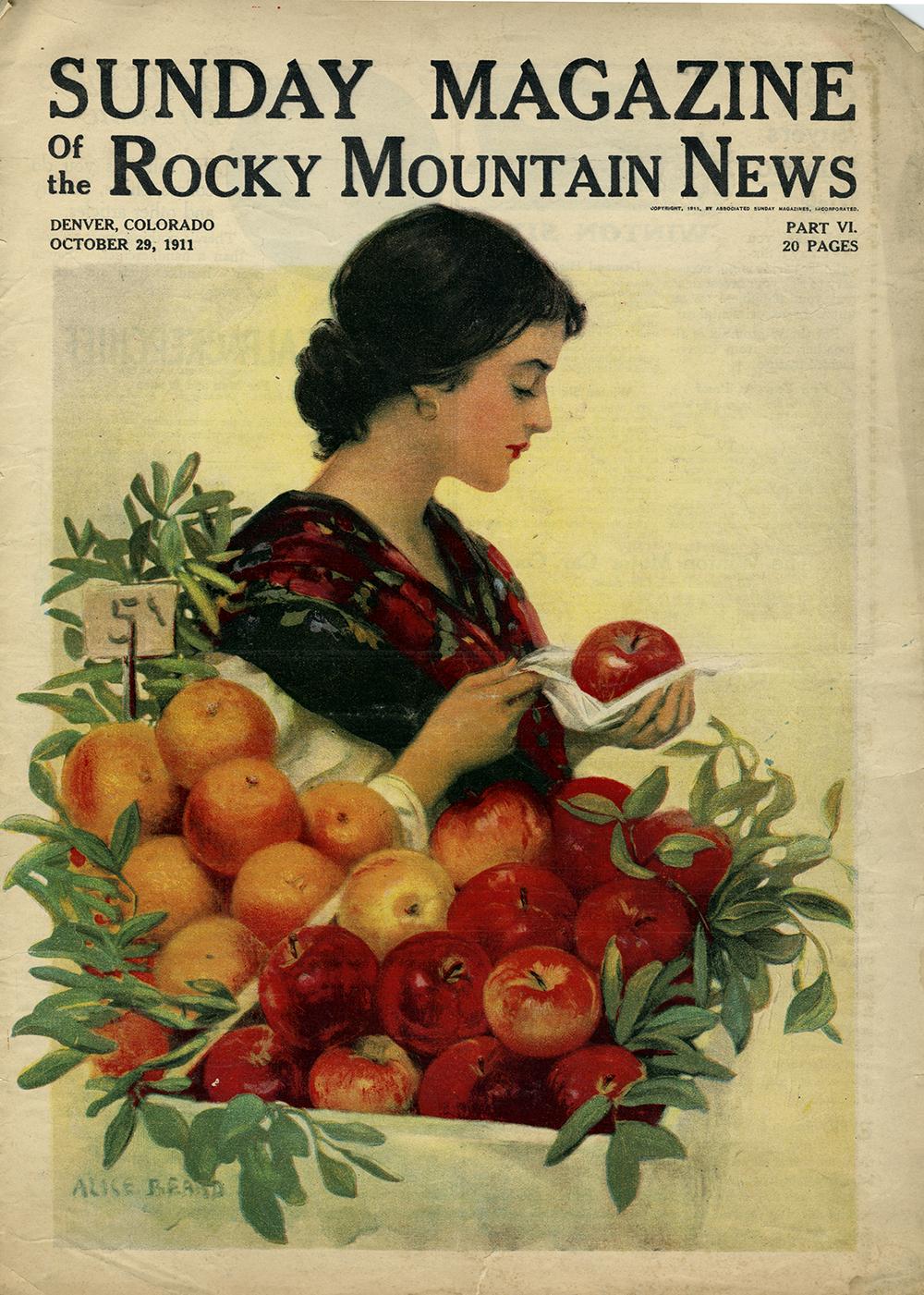 Alice Beard, Cover Illustration. Sunday Magazine of the Rocky Mountain News. October 29, 1911.