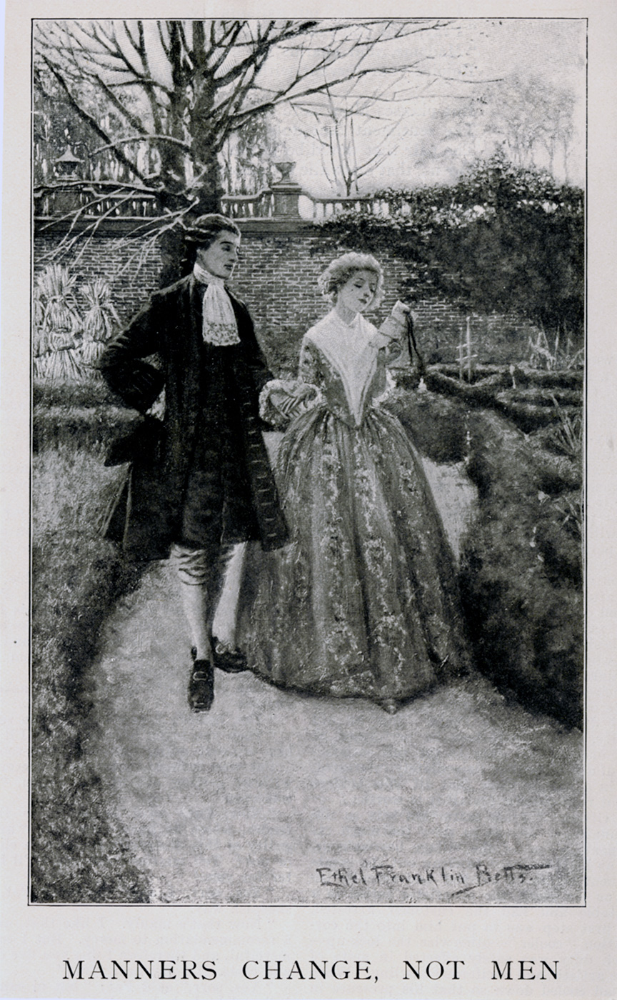"Ethel Franklin Betts, ""Manners Change, Not Men"". Harper's Monthly Magazine. Interior Illustration for a story by Edward Sanford Martin. September 1900."