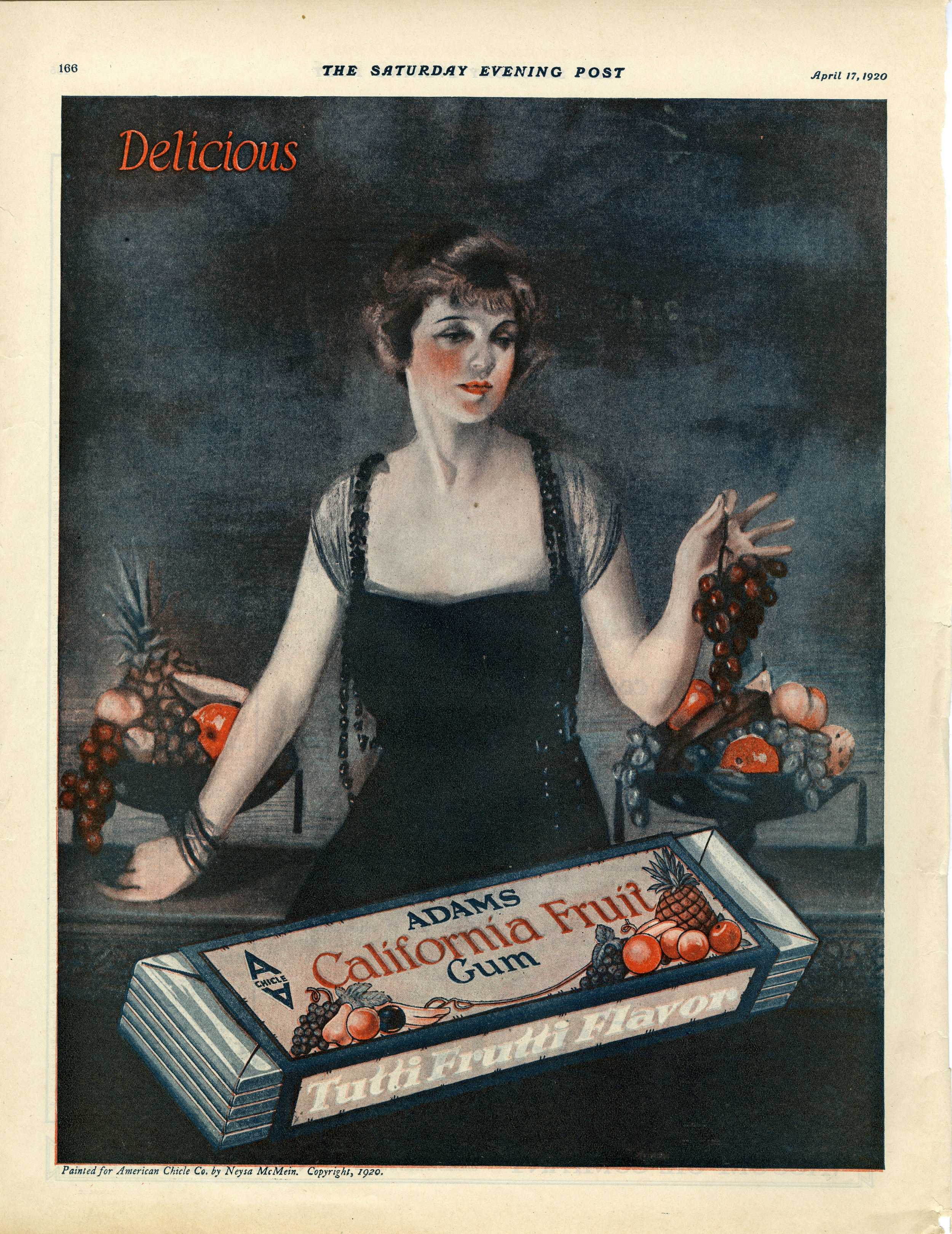 Neysa McMein,Print ad for American Chicle Company.   The Saturday Evening Post.April 1920.