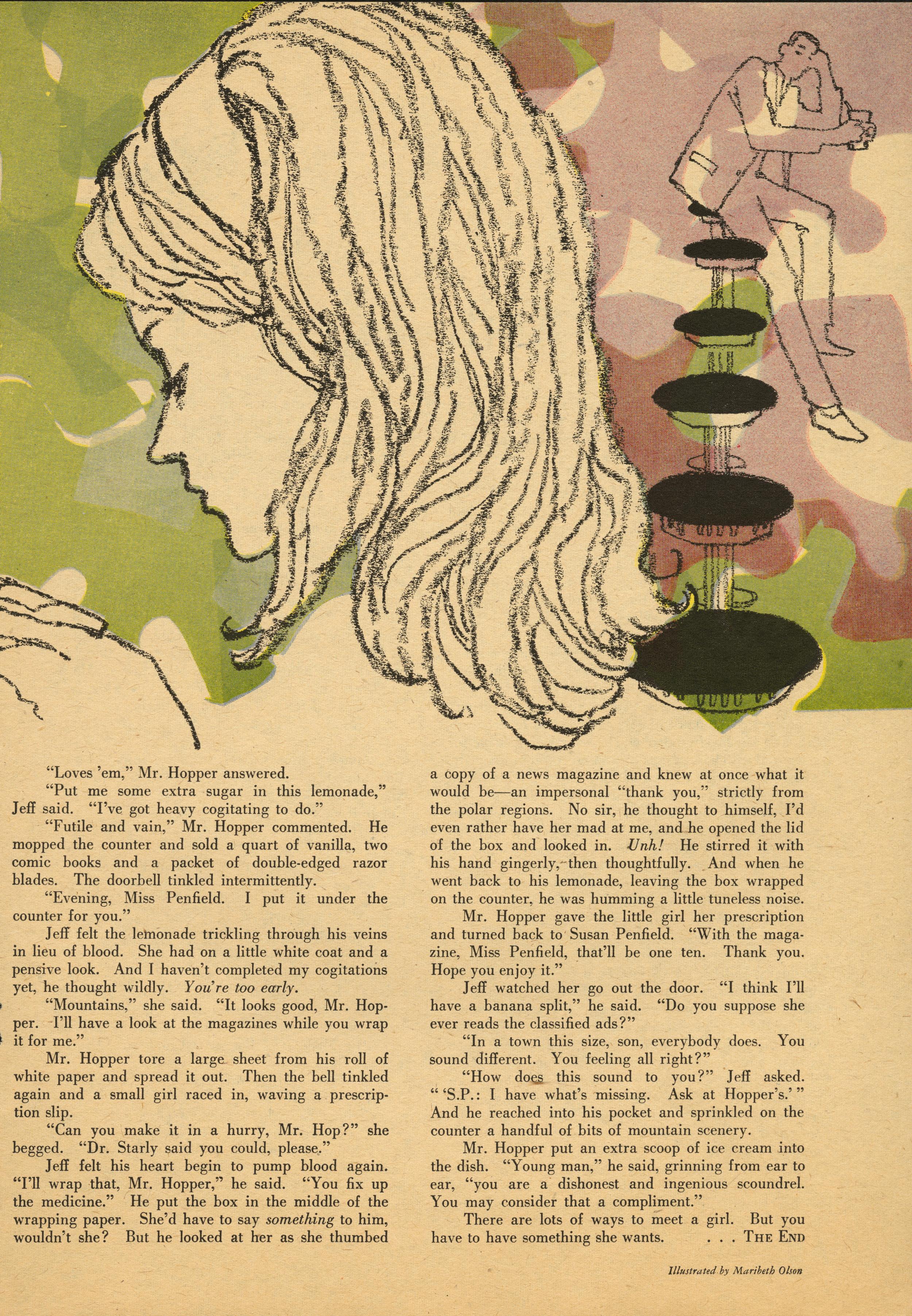 Maribeth Olson, Interior Story Illustration for  Redbook . December 1959.