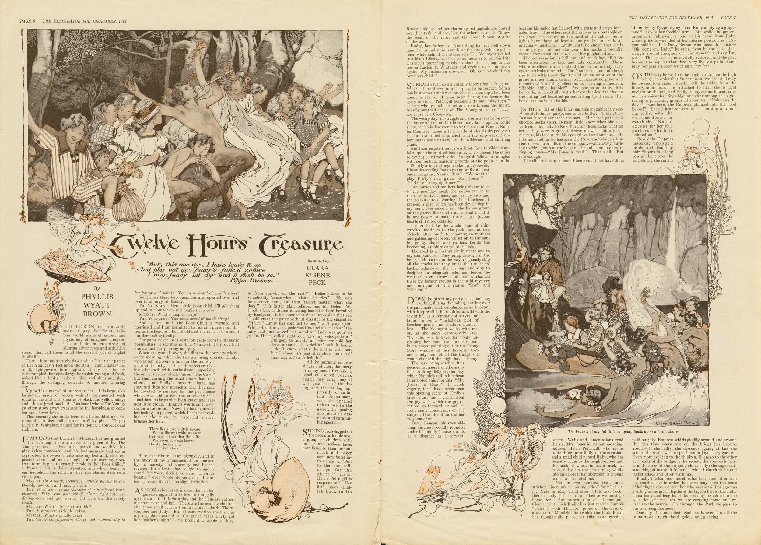"""Clara Elsene Peck, """"Twelve Hours' Treasure"""". Written by Phyllis Wyatt Brown. The Delineator. December 1914."""