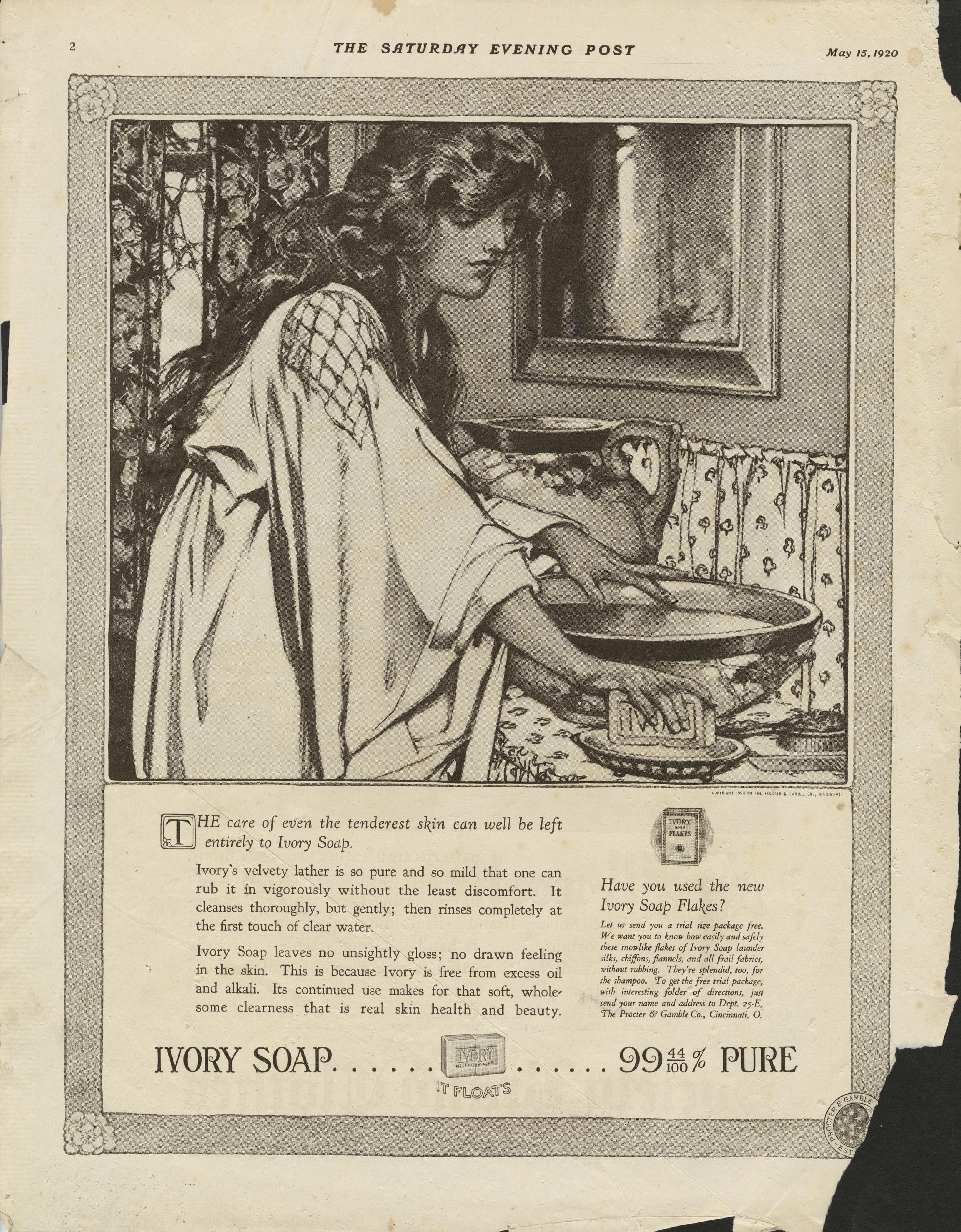 Clara Elsene Peck, Ivory Soap print advertisement. The Saturday Evening Post. May 15, 1920.