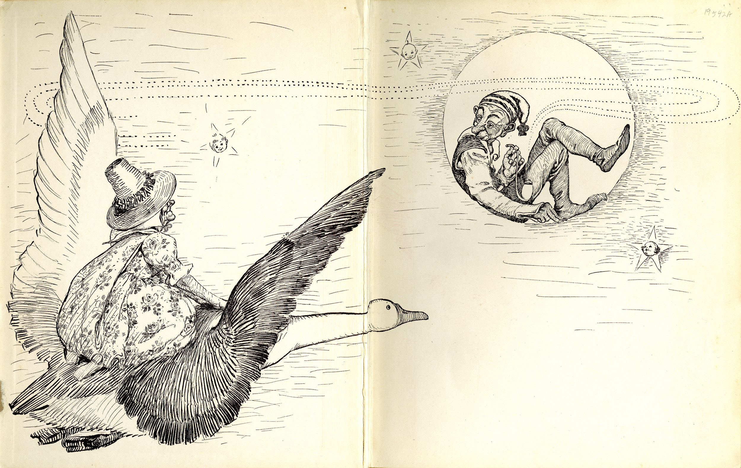 FY Cory, endpapers for  The Fanny Cory   Mother Goose. Bobs-Merrill Company Publishers. 1913.