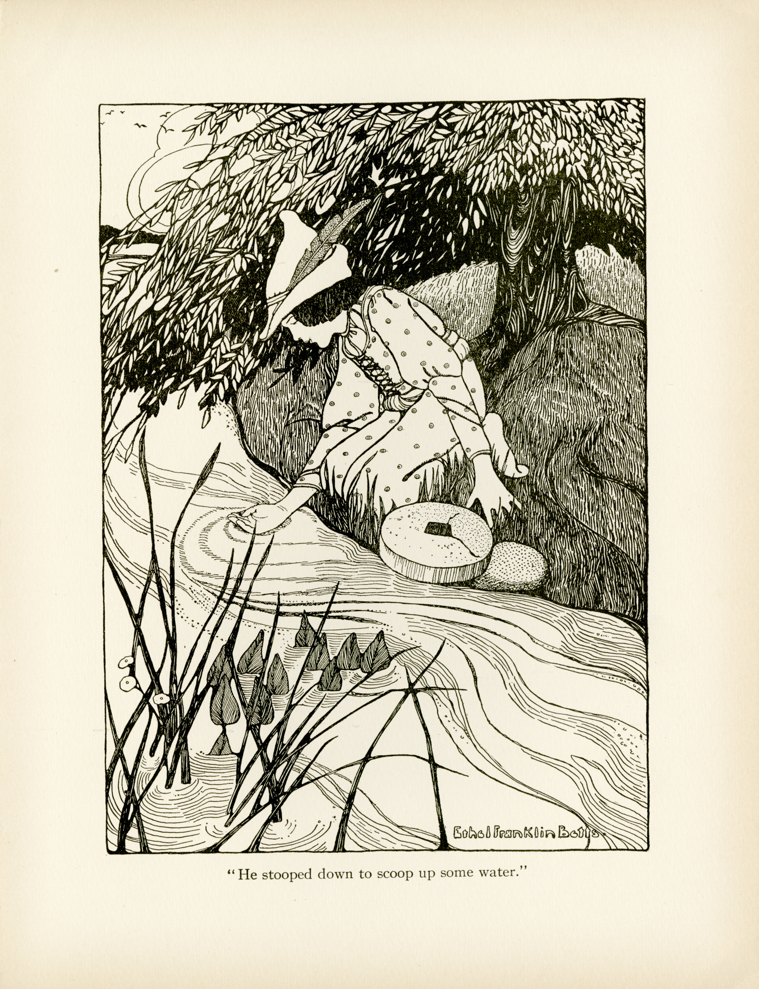 """Ethel Franklin Betts, pen drawing for """"The Story of Hans in Luck"""" from  Fairy Tales from Grimm . 1909."""