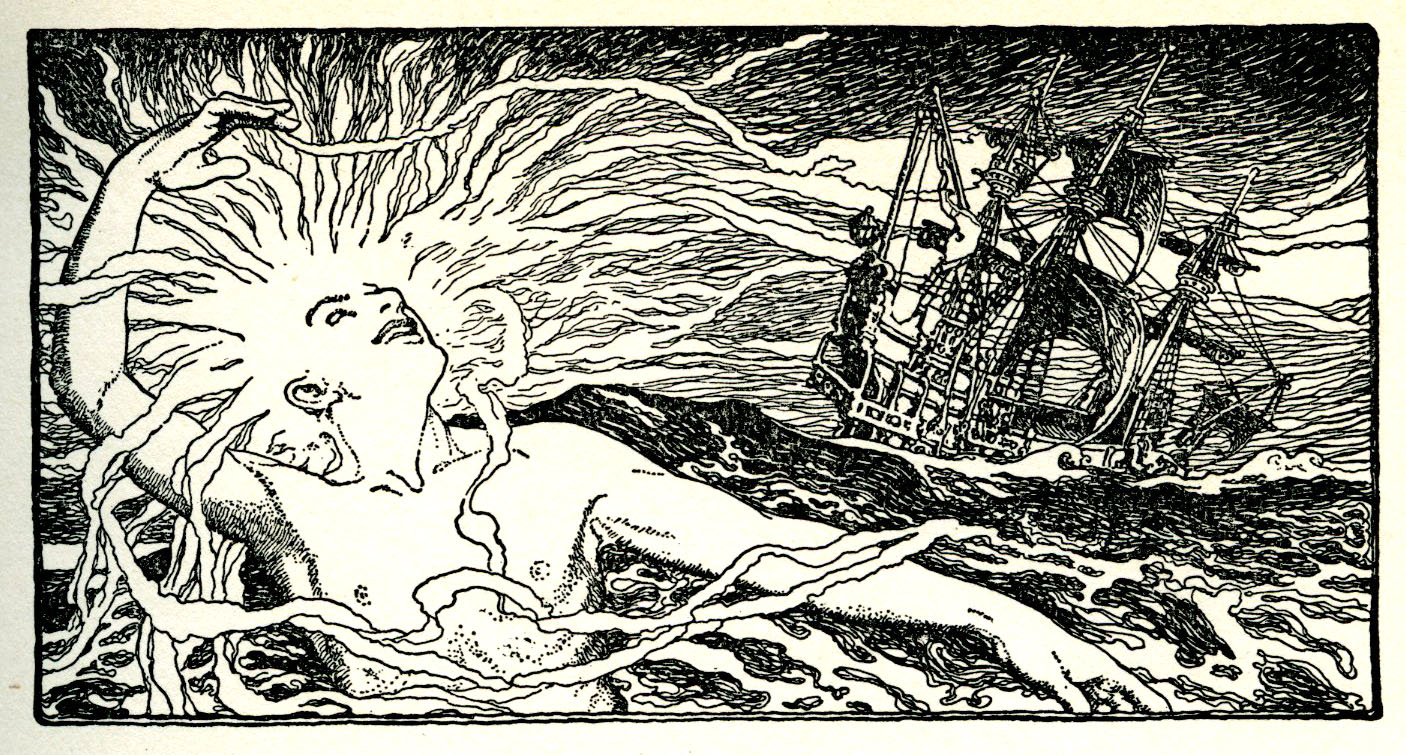 Elizabeth Shippen Green, black and white chapter header illustration from  Tales from Shakespeare. 1922.
