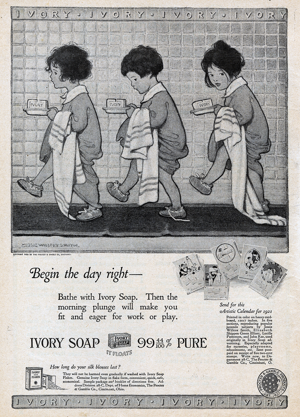 Jessie Wilcox Smith, black and white print ad for Ivory Soap in  The Redbook Magazine.  1920.
