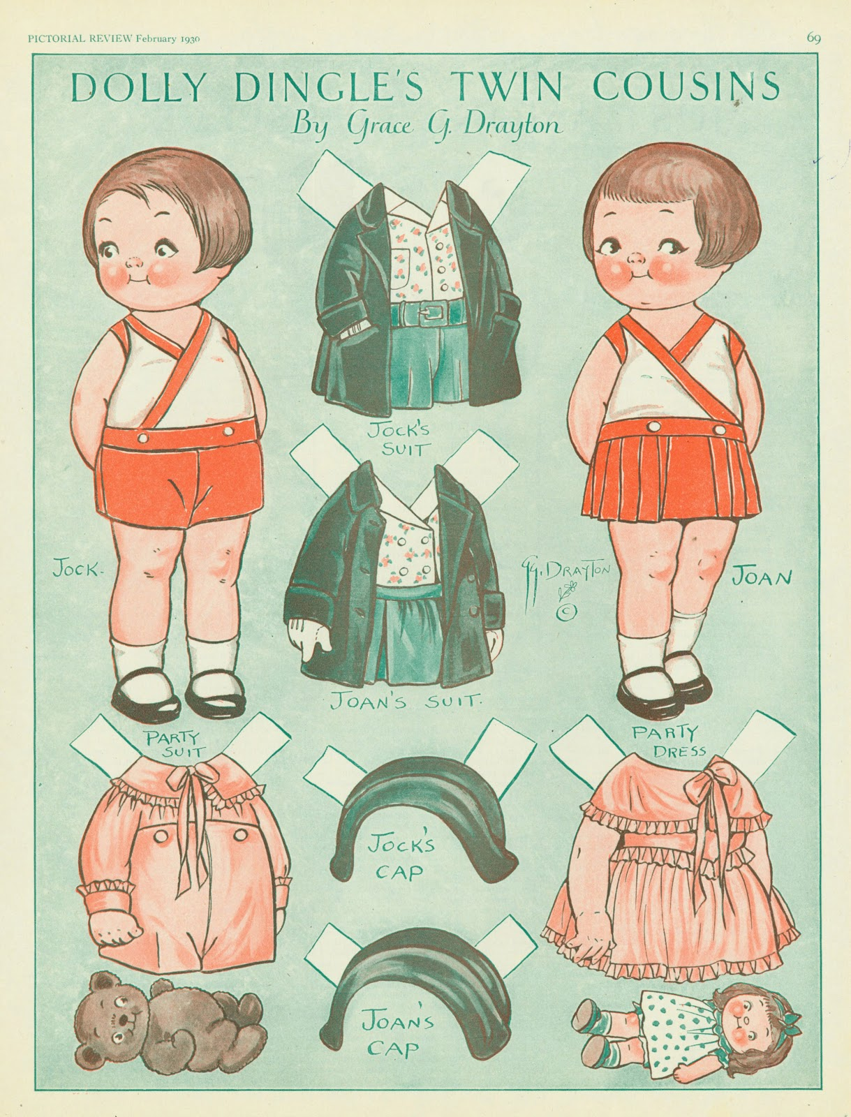 """Grace Drayton,  Dolly Dingle Paper Dolls with Outfits . 1930. Grace ( profiled here  on my Illustration History blog) was one of the creators of characters associated with products and what would become known as """"brands."""" Starting in comics at the Philadelphia Press, in 1905 she created """"The Campbell's Soup Kids"""" who bore a powerful resemblance to characters she created for the rest of her career. She produced these Dolly Dingle paper-cutouts for Pictorial Review as a running gig. Her """"kids"""" were of the same generation of Pretz' Billken."""