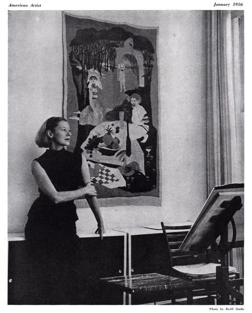 "Photo credit unavailable. An elegant-looking Evaline Ness in her studio, published in American Artist, January 1956. She designed the tapestry behind her.  Adrienne P ., A blogger at the Free Library of Philadelphia, where I first encountered this image, has (sensibly) argued that "" Cate Blanchett should play her in the movie."""