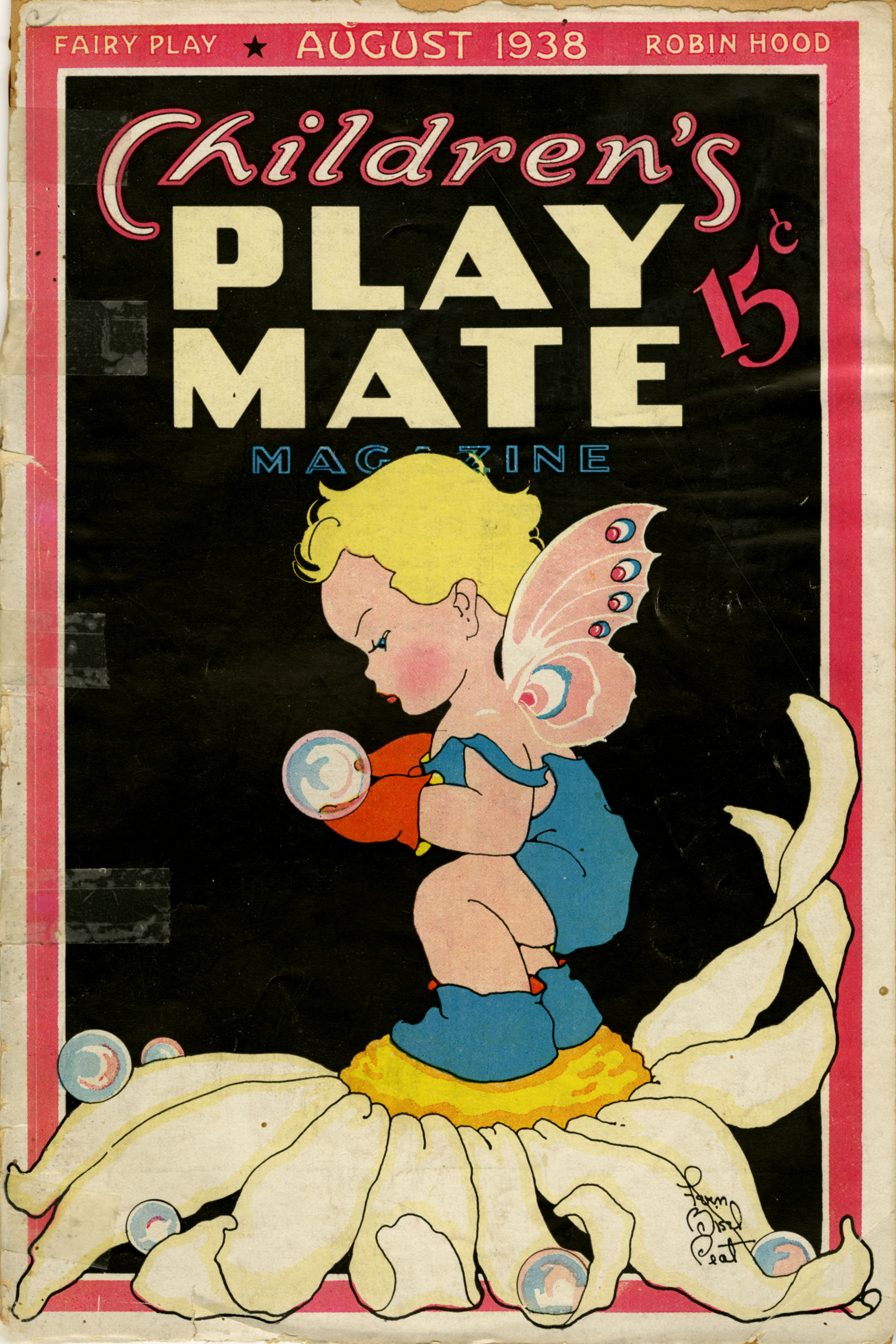 Fern Bisel Peat,  Children's   Playmate  cover illustration  .   August 1938.  Published by A.R. Mueller Printing Co, Cleveland, Ohio.  More Children's Playmate covers and interior spreads appear below. The magazine was the most durable engagement of Peat's long career.