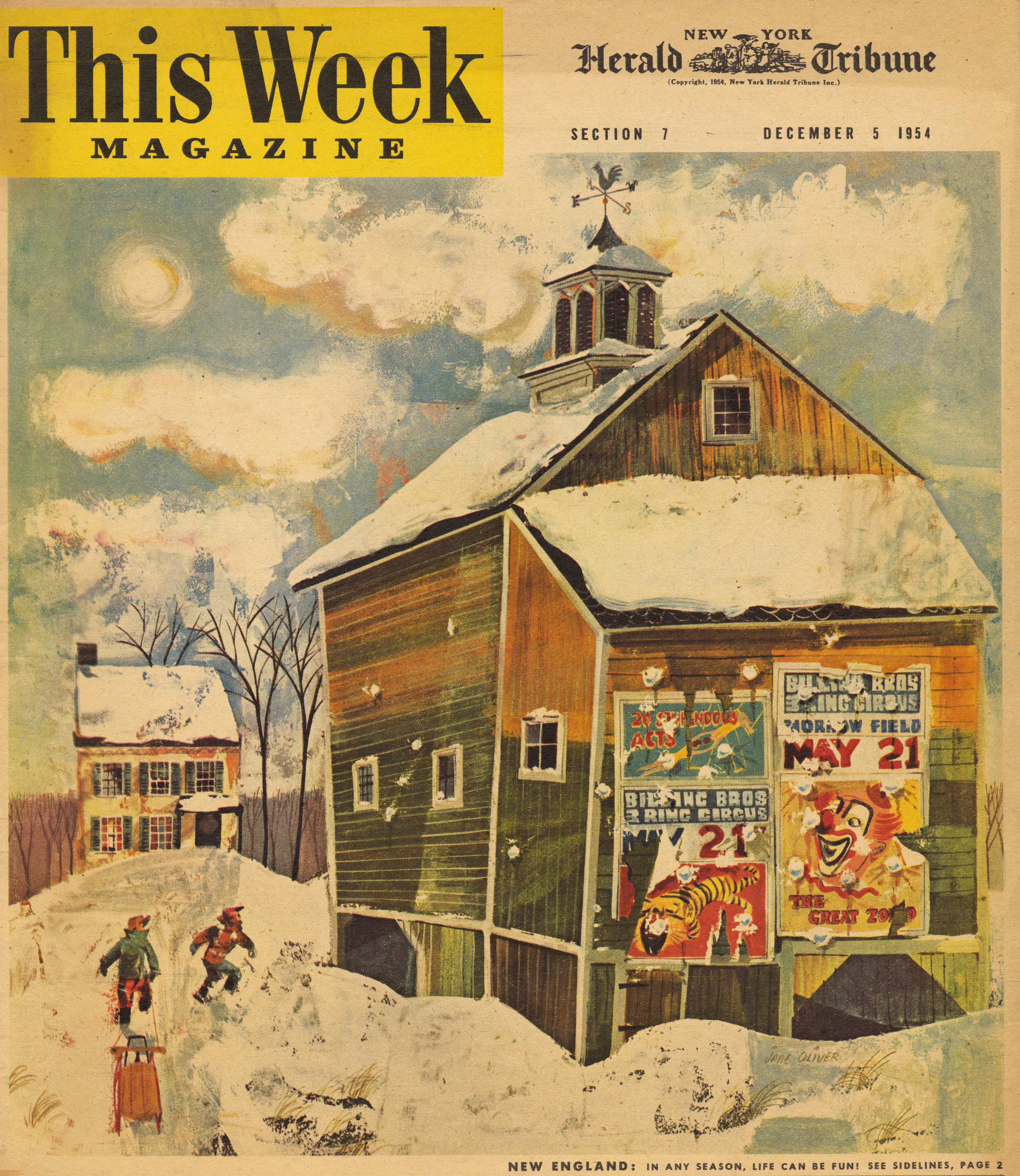 Jane Oliver, cover illustration for   This Week Magazine  . December 5, 1954.