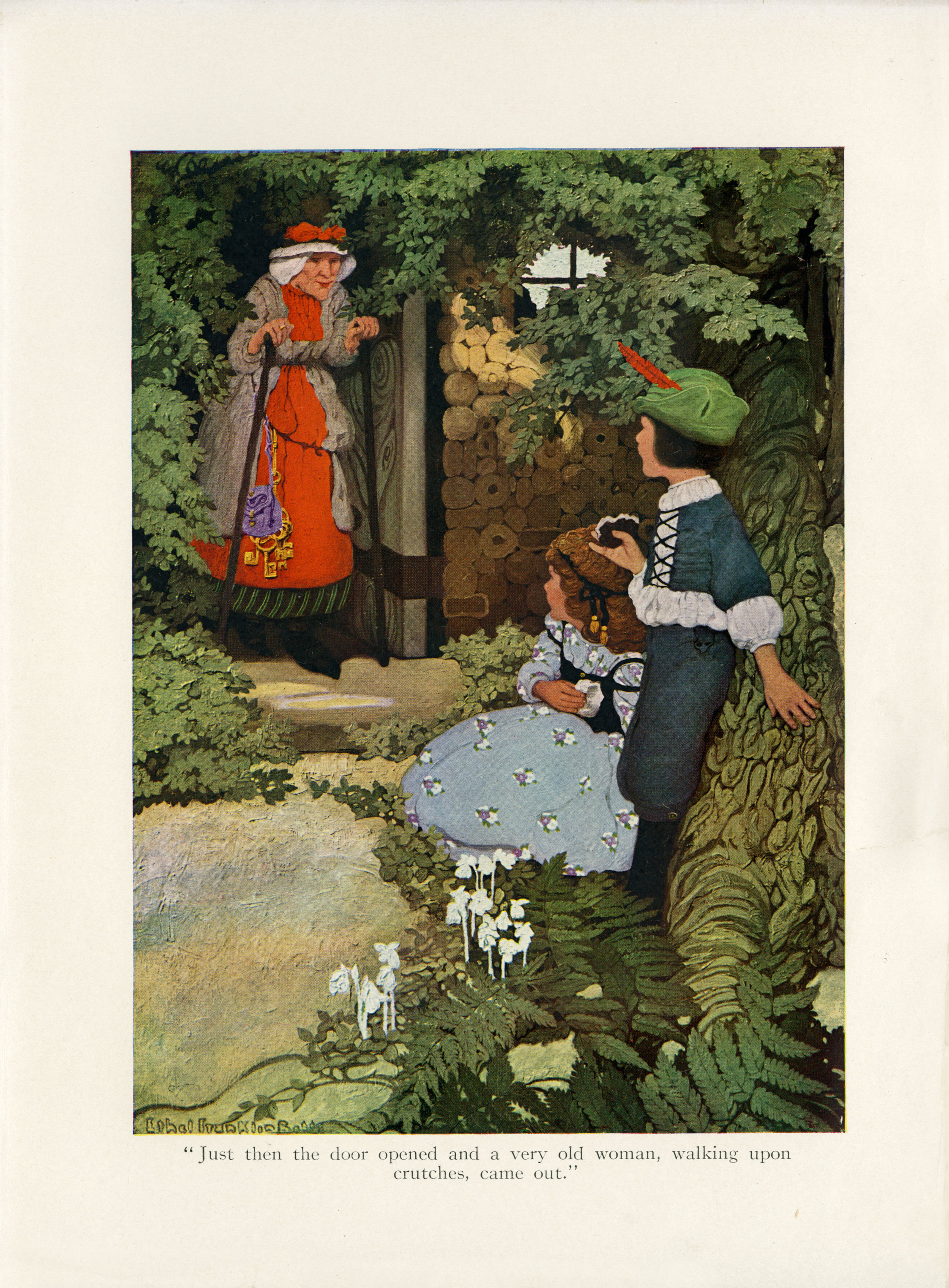 """Ethel Franklin Betts, color illustration of """"The Story of Hansel and Gretel""""from  Fairy Tales from Grimm .Edited with an intro written by Hamilton W. Mabie. Published in 1909 by Edw. Stern & Co. Inc."""
