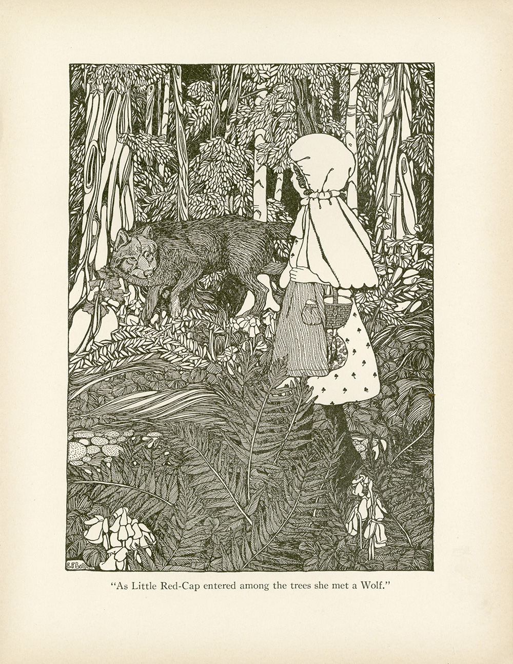 """Ethel Franklin Betts, pen drawing illustration of """"The Story of Little Red Cap"""" (or Little Red Riding Hood)from  Fairy Tales from Grimm . 1909."""