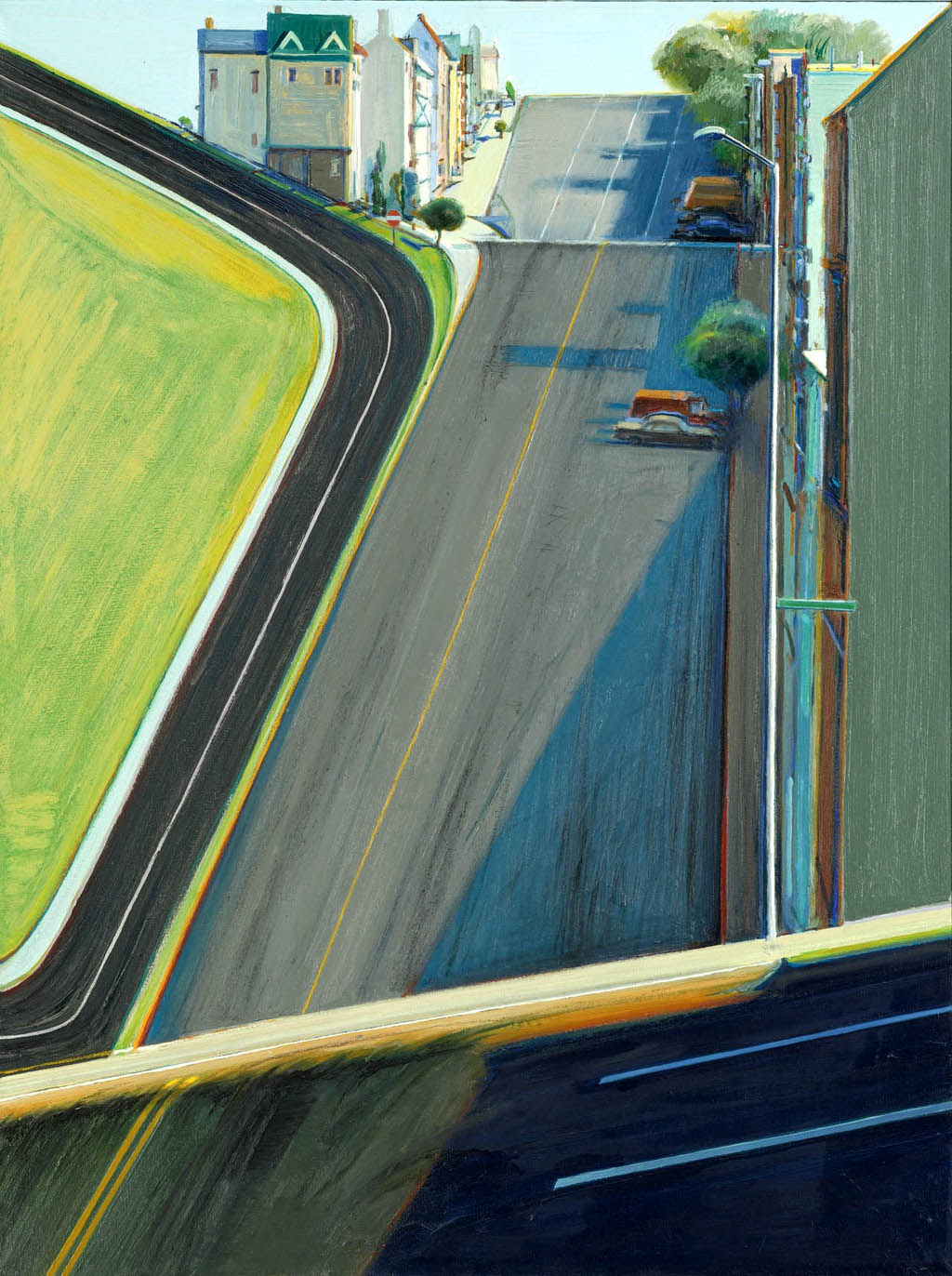 Wayne Thiebaud,  Down Penn Street , 1978. The plasticity of the space is of particular interest. (Hat tip to Mike Hirshon for the citation.)